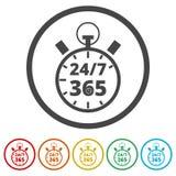 Open 24/7 - 365, 24/7 365, 24/7 365 ondertekenen, 6 Inbegrepen Kleuren Stock Illustratie