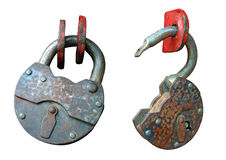 The open and open old, rusty hinged lock. Stock Images
