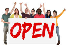 Open opening store shop young people holding banner Stock Photo