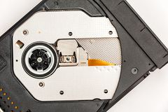 Open optical CD/DVD disc drive on a notebook. Stock Photography