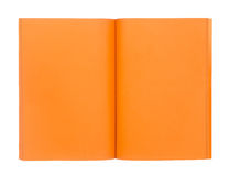 Open orange book isolated on white Royalty Free Stock Photo