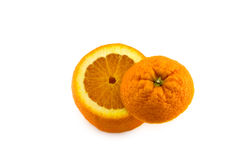 Open orange with bottom isolated Stock Images