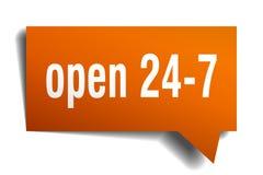 Open 24 7 orange 3d speech bubble. Open 24 7 orange 3d square isolated speech bubble Royalty Free Stock Photos