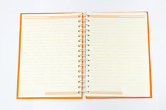 Open Orange notebook Royalty Free Stock Photo