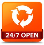 24/7 open orange square button red ribbon in middle. 24/7 open isolated on orange square button with red ribbon in middle abstract illustration Stock Image