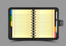 Open organizer gray background Royalty Free Stock Images