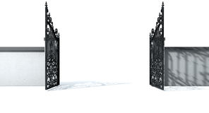 Open Ornate Gates And Wall Royalty Free Stock Image