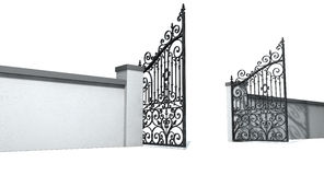 Open Ornate Gates And Wall Royalty Free Stock Images
