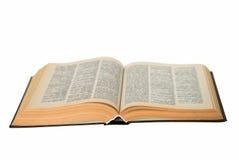 Open Oud Boek dat op Wit wordt geïsoleerde stock foto