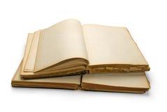 Open oud boek met blanco pagina's. Stock Foto's