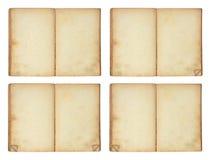 Open oud leeg boek, 4 versies Stock Afbeelding