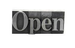 ?Open? in oud metaaltype Stock Afbeelding