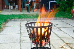 Open, outdoors fireplace. Royalty Free Stock Images