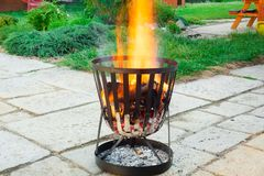 Open, outdoors fireplace. Stock Image