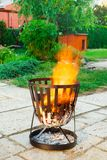 Open, outdoors fireplace. Stock Images