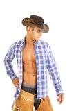 Open overhemd van de cowboy kijkt het blauwe plaid neer zijhand Royalty-vrije Stock Fotografie