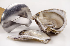 Open oyster and oyster knife Stock Image