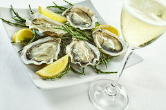 Open oyster shells with lemon wedges and drink. Open oyster shells with lemon wedges in plate with curled edges and drink in tall champagne glass over white Royalty Free Stock Photography