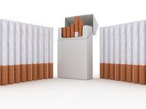 Open pack of cigarettes Stock Photos