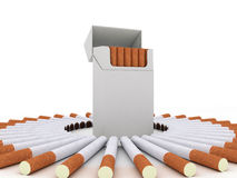 Open pack of cigarettes and cigarettes around. Isolated on white background Stock Photography