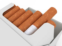 Open pack of cigarettes isolated on white Royalty Free Stock Images