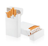 Open pack of cigarettes on white Stock Photo