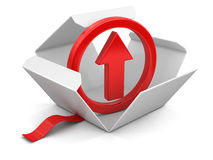 Open package with arrow up Stock Photo