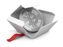 Open package with Bitcoin Stock Photo