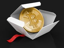 Open package with Bitcoin Royalty Free Stock Photo