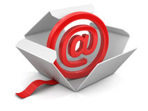 Open package with E-mail sign Stock Photos