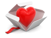 Open package with heart Stock Photo