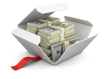 Open package with pile of dollars Royalty Free Stock Image