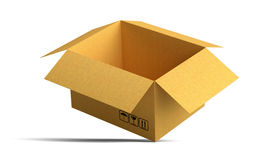 Open packing carton box stands on corner Stock Photos