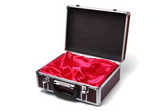 Open padded aluminum briefcase Royalty Free Stock Images