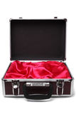 Open padded aluminum briefcase Stock Photography