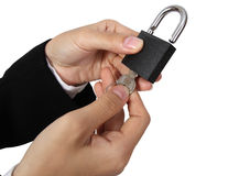 Open padlock. With keys isolated on white background royalty free stock photography