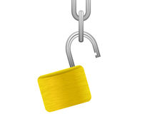Open padlock with chain Stock Photo