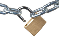 Open Padlock and chain Stock Photos