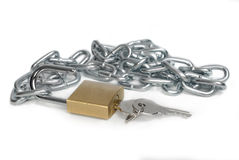 Open padlock and chain with keys Stock Photo