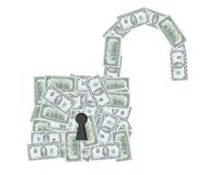 Open padlock with dollar notes Stock Photography