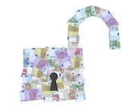 Open padlock with euro notes Royalty Free Stock Image