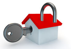 A open padlock with a house Royalty Free Stock Photo
