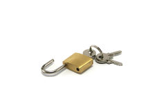 Open Padlock with keys. Open padlock with three keys. Small sized lock often used for suitcases royalty free stock photo