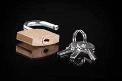 Open padlock and keys on a dark background Stock Image