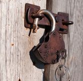 Open padlock with keys. Royalty Free Stock Images
