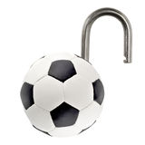 Open padlock soccer ball Stock Images