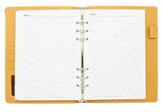 Open page of brown notebook Stock Photo