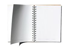 Open pages of a notebook. Isolated on white Royalty Free Stock Photography