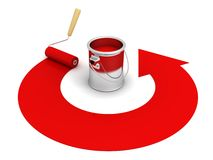Open paint can with roller and red round arrow stock image
