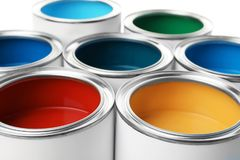 Open paint cans, closeup view. Professional material royalty free stock image